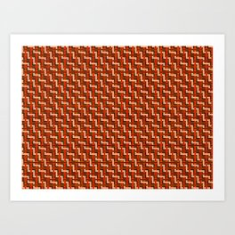 Red and Gold Zig Zag Weave Art Print