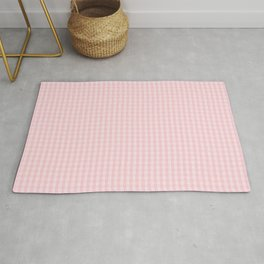 Mini Millennial Pink Pastel Color Gingham Check Rug