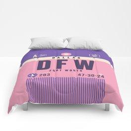 Retro Airline Luggage Tag - DFW Dallas Fort Worth Comforters