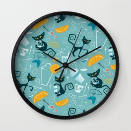 Mid century modern atomic style cats and cocktails Wall Clock