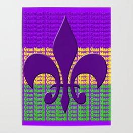 Mardi Gras  tri color with Fleur de lis Poster