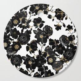 Modern Elegant Black White and Gold Floral Pattern Cutting Board