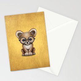 Cute Baby Lion Cub Wearing Glasses on Yellow Stationery Cards