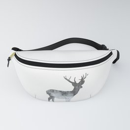 Snowing Reindeer On White Fanny Pack