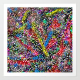 Whirling atoms (abstract expressionism painting) Art Print