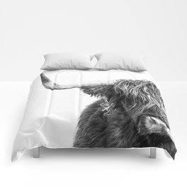 Highland Cow Portrait - Black and White Comforters