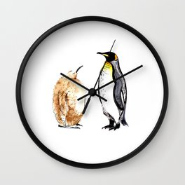King Penguin and Chick Wall Clock
