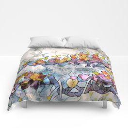 Splashes Of Stained Glass by CheyAnne Sexton Comforters
