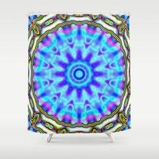 Liquid Blue Kaleido Pattern Shower Curtain