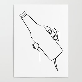 """"""" Kitchen Collection """" - Hand Holding Beer Bottle Poster"""