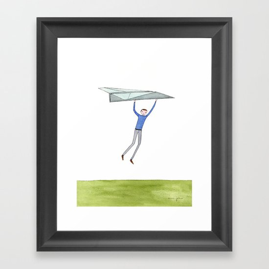 hang on to your paper airplane Framed Art Print