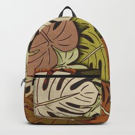 Grunge Monstera Leaves #3 Backpack