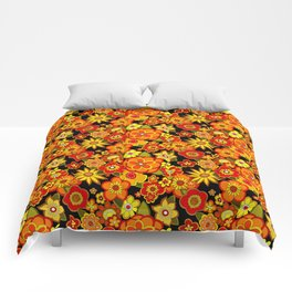 Super groovy flowers Black base orange Comforters