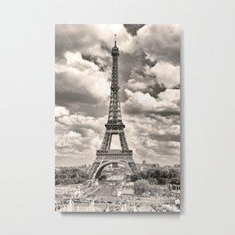 Eiffel Tower in sepia in Paris, France. Landmark in Europe Metal Print