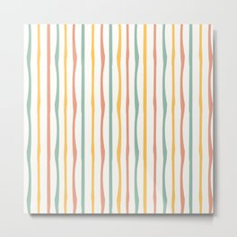Stripes Stripped Pattern Muted Metal Print