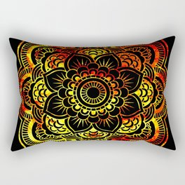 Fiery Sun Mandala Rectangular Pillow