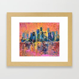Pink Sky - abstract painting New York city skyline at sunset impressionism acrylic Framed Art Print