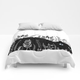 Garden Cat Black And White Comforters