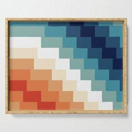 Geometric 70s retro colorscape Serving Tray