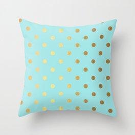 Gold polka dots on aqua background - Luxury turquoise pattern Throw Pillow