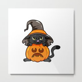 angry kitty Halloween Cat Witch present gift Metal Print