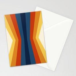 Bright 70's Retro Stripes Reflection Stationery Cards