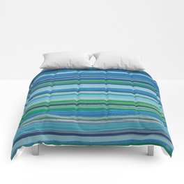 Painted Horizontal Stripe in Blues and Green Comforters