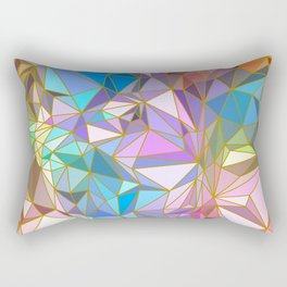 Sparkling Crystal Colourful Crystalline with Gold Lines Rectangular Pillow