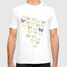 butterflies pattern White Mens Fitted Tee MEDIUM