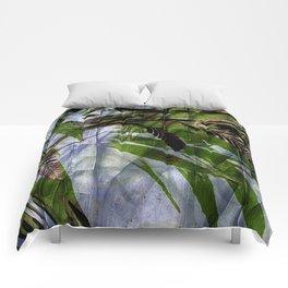 Crocosmia Shimmer in Sky, Leaf, Bronze Comforters