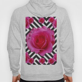 CONTEMPORARY  PINK ROSES B&W ABSTRACT Hoody