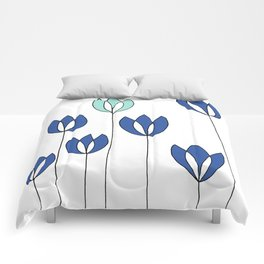 Drawing of Blue and Aqua Whimsical Tulips by Emma Freeman Designs Comforters