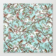 One Cloudy Day,  A Sparrow Tree -  Seamless Pattern Canvas Print