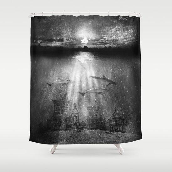 dolphins, civilization. Shower Curtain