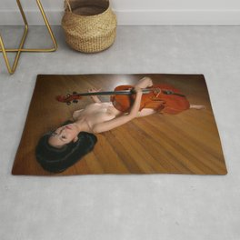0149-JC Nude Cellist with Her Cello and Bow Naked Young Woman Musician Art Sexy Erotic Sweet Sensual Rug