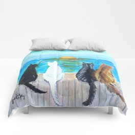 Cat Beach Sunset Comforters