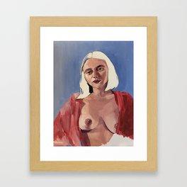 Rute in Her Pink Robe Framed Art Print