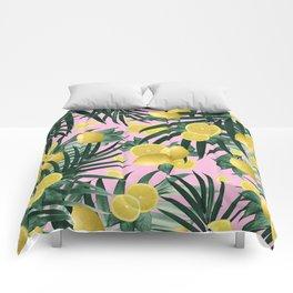 Summer Lemon Twist Jungle #6 #tropical #decor #art #society6 Comforters