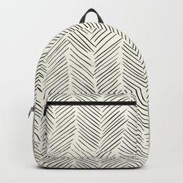 Herringbone Black on Cream Backpack