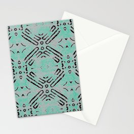 Antique Tribal Light Moss Green Texture Geometric Stationery Cards
