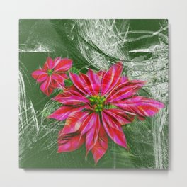 Abstract vibrant red poinsettia on green texture Metal Print