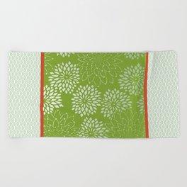 Dahlia Scallops Green and Orange Beach Towel