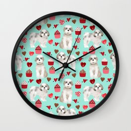Shih Tzu valentines day pattern for dog lover with cute shih tzu puppy love by pet friendly Wall Clock