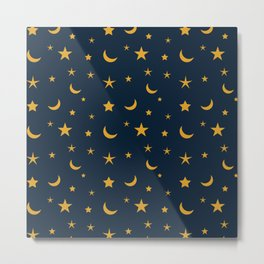Yellow moon and star pattern on Navy blue background Metal Print