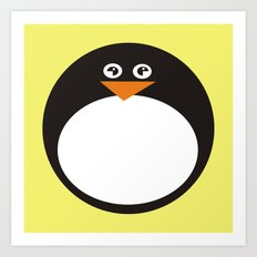 CVAn0050 Whimsical Circle Penguin Art Print