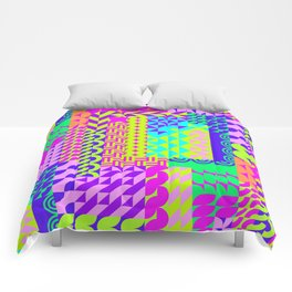 Abstract geometrical neon colors eclectic pattern Comforters