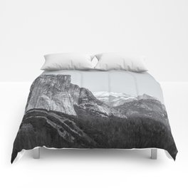 El Capitan, Half Dome and Sentinel Rock from Tunnel View bw Comforters