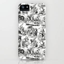 Alice in Wonderland | Toile de Jouy | Black and White iPhone Case