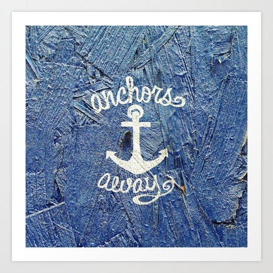 White Nautical Anchors Blue Vintage Wood Texture Art Print