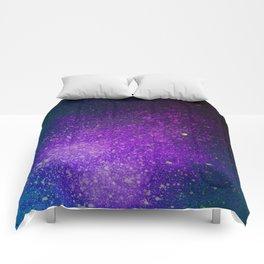 """Purple Stars Paint splatter on Deep Blue """"Dream On"""" Comforters"""